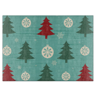 Decorative Christmas Trees and Christmas Ornaments Cutting Board