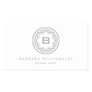 DECORATIVE CIRCLE LOGO with YOUR INITIAL Lt Gray Business Card Templates