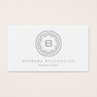 DECORATIVE CIRCLE LOGO with YOUR INITIAL Lt Gray Business Card