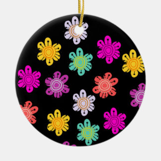 decorative colorful flowers round ceramic decoration