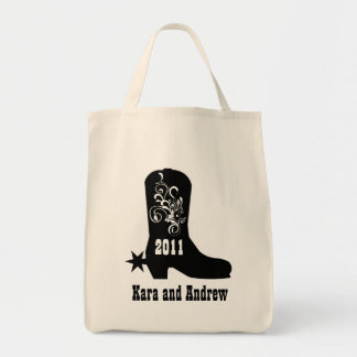 Decorative Cowboy Boot Grocery Tote Bag