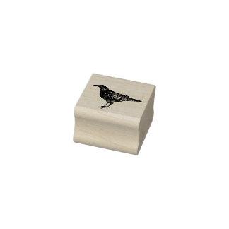 Decorative Crow Rubber Stamp