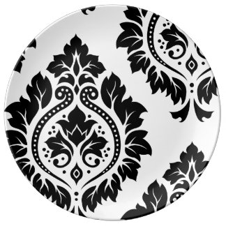 Decorative Damask Art I Black on White Plate