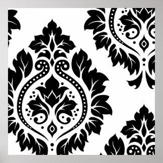 Decorative Damask Art I – Black on White Poster
