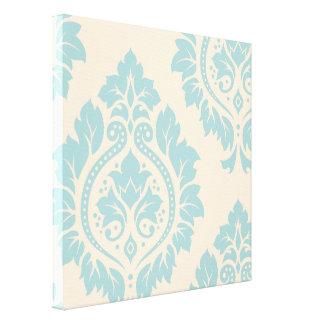 Decorative Damask Art I – Blue on Cream Gallery Wrap Canvas