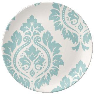 Decorative Damask Art I Blue on Cream Plate