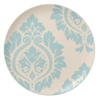 Decorative Damask Art I – Blue on Cream Plate
