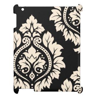 Decorative Damask Art I – Cream on Black Cover For The iPad