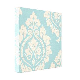Decorative Damask Art I – Cream on Blue Stretched Canvas Prints