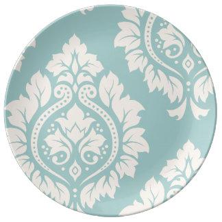 Decorative Damask Art I Cream on Blue Plate