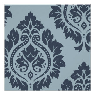 Decorative Damask Art I Dark on Light Blue-Grey