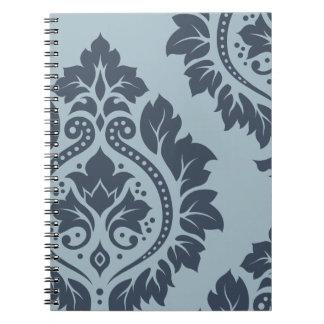 Decorative Damask Art I – Dark on Light Blue-Grey Note Book