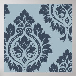 Decorative Damask Art I – Dark on Light Blue-Grey Print