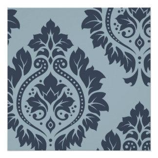 Decorative Damask Art I Dark on Light Blue-Grey