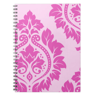 Decorative Damask Art I – Dark on Light Pink Spiral Notebook