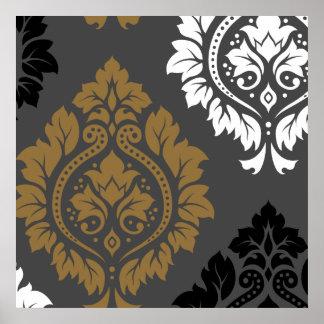 Decorative Damask Art I Gold Black White on Grey Poster