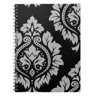 Decorative Damask Art I Grey on Black Note Books