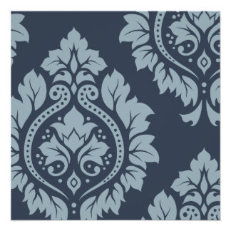 Decorative Damask Art I Light on Dark Blue-Grey