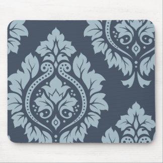 Decorative Damask Art I – Light on Dark Blue-Grey Mouse Pad