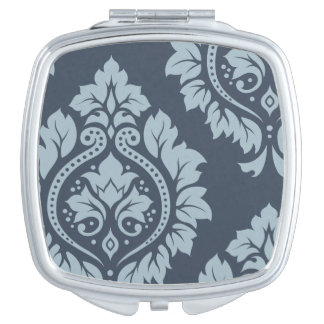 Decorative Damask Art I – Light on Dark Blue-Grey Travel Mirror
