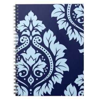 Decorative Damask Art I Light on Dark Blue Note Books