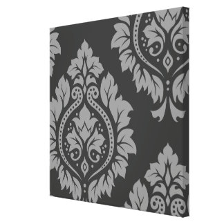 Decorative Damask Art I Light on Dark Grey Canvas Print