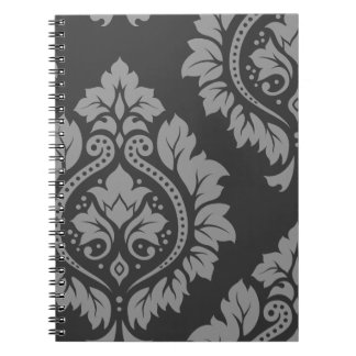Decorative Damask Art I Light on Dark Grey Spiral Notebook