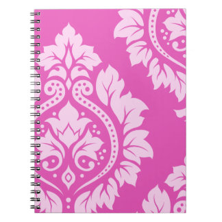 Decorative Damask Art I – Light on Dark Pink Spiral Notebooks