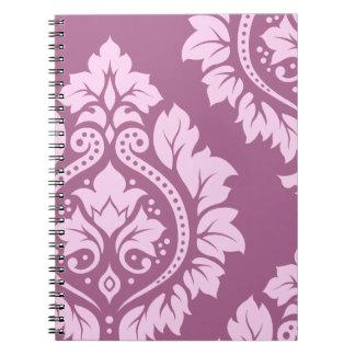 Decorative Damask Art I – Pink on Plum Spiral Notebooks