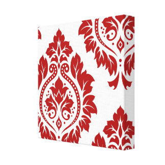 Decorative Damask Art I Red on White Stretched Canvas Prints