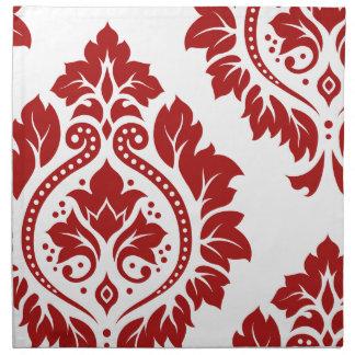 Decorative Damask Art I Red on White Napkin