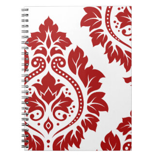 Decorative Damask Art I Red on White Notebooks