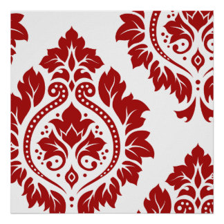 Decorative Damask Art I Red on White Poster