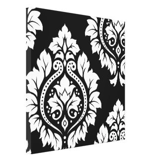 Decorative Damask Art I – White on Black Gallery Wrapped Canvas