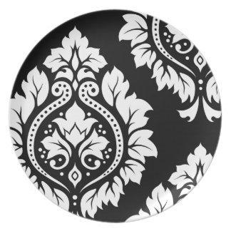 Decorative Damask Art I – White on Black Plate