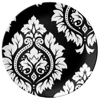 Decorative Damask Art I White on Black Plate