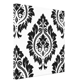 Decorative Damask Design – Black on White Stretched Canvas Print