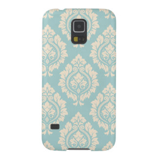 Decorative Damask Design Cream on Blue Case For Galaxy S5