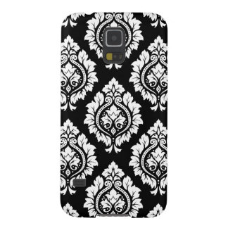 Decorative Damask Design White on Black Galaxy S5 Cover