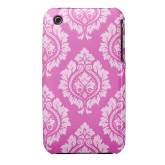 Decorative Damask Lg Ptn – Light on Dark Pink Case-Mate iPhone 3 Cases