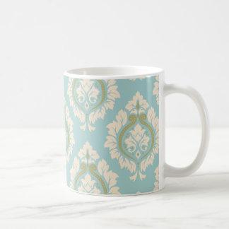 Decorative Damask Pattern – Cream & Gold on Blue Coffee Mug
