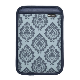 Decorative Damask Pattern Dark on Light Blue-Grey iPad Mini Sleeve