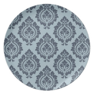 Decorative Damask Pattern Dark on Light Blue-Grey Plate