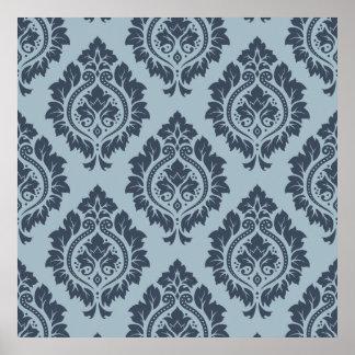 Decorative Damask Pattern Dark on Light Blue-Grey Poster