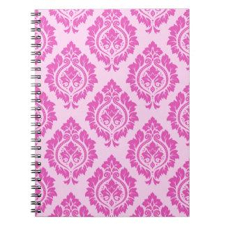 Decorative Damask Pattern – Dark on Light Pink Notebooks