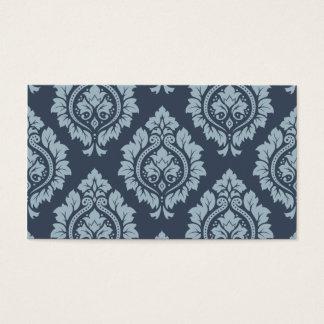 Decorative Damask Pattern Light on Dark Blue-Grey Business Card