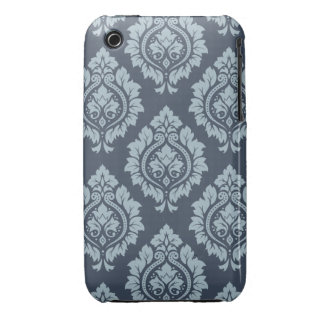 Decorative Damask Pattern Light on Dark Blue-Grey Case-Mate iPhone 3 Cases