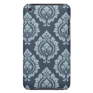 Decorative Damask Pattern Light on Dark Blue-Grey iPod Touch Cases