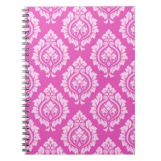 Decorative Damask Pattern – Light on Dark Pink Spiral Note Book