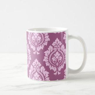 Decorative Damask Pattern – Pink on Plum Coffee Mug